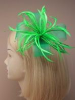 Green Large Feather and Bead Fascinator